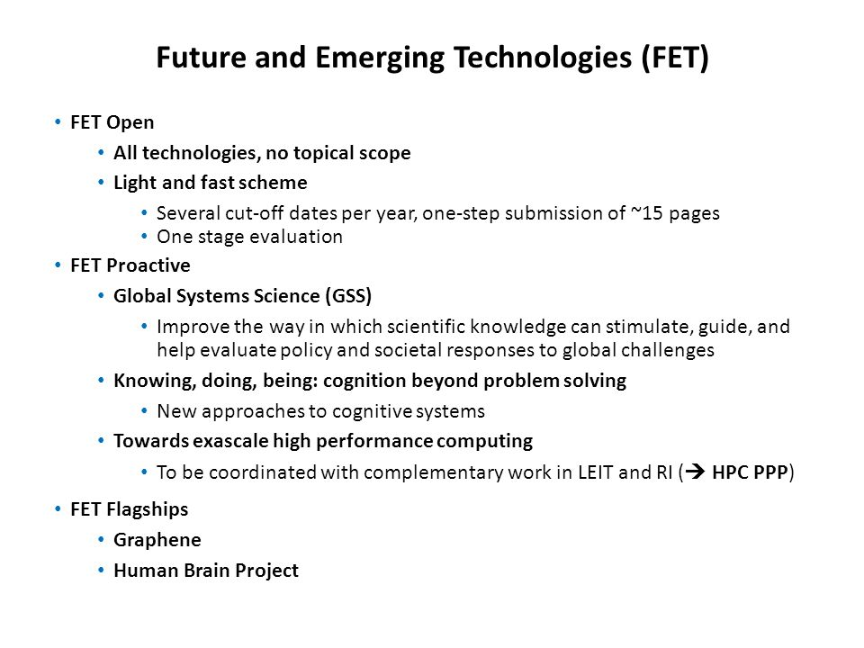 Future and Emerging Technologies (FET)