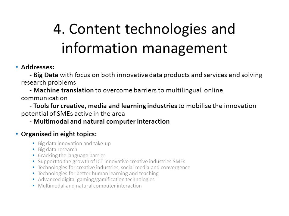 4. Content technologies and information management