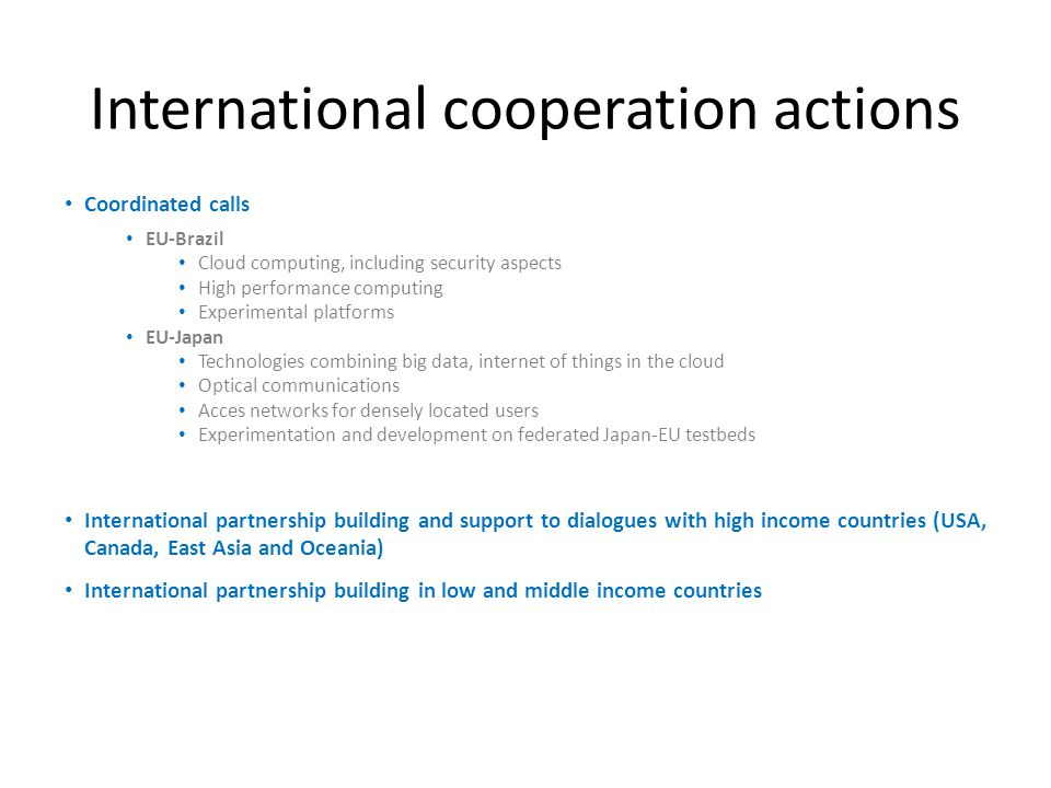 International cooperation actions