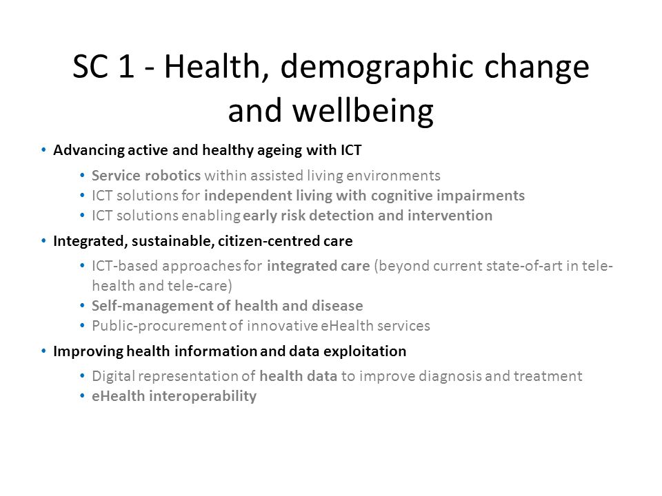 SC 1 - Health, demographic change and wellbeing