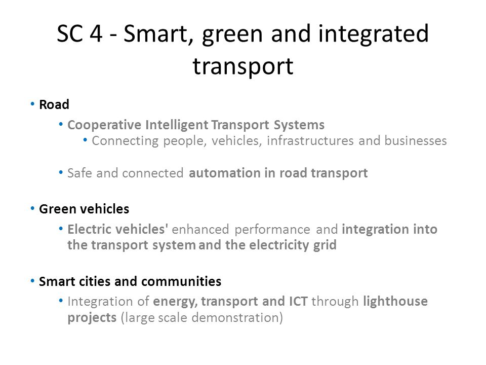 SC 4 - Smart, green and integrated transport