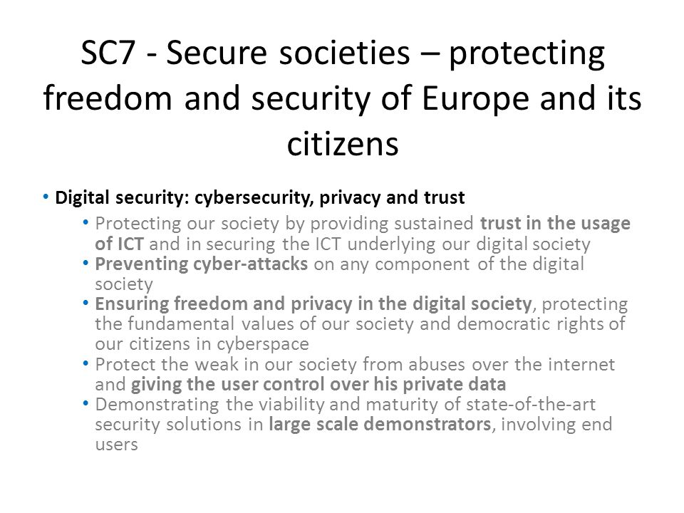 SC7 - Secure societies – protecting freedom and security of Europe and its citizens