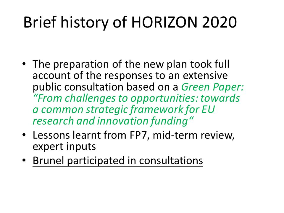 Brief history of HORIZON 2020