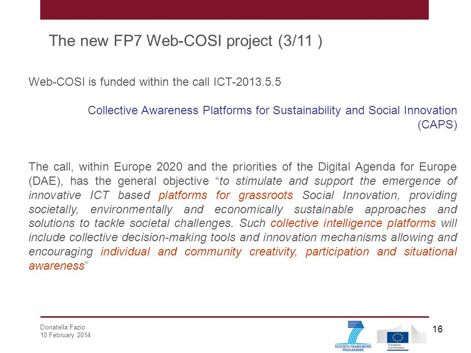The new FP7 Web-COSI project (3/11 )