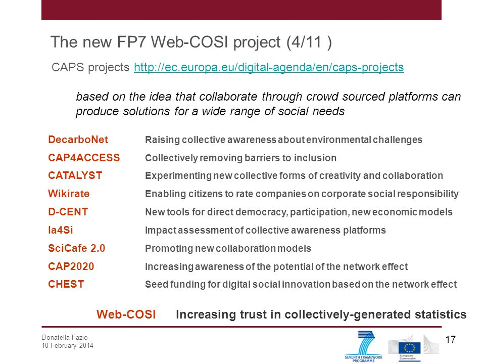 The new FP7 Web-COSI project (4/11 )