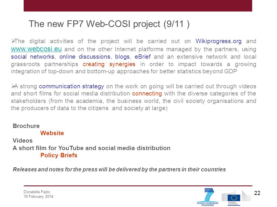 The new FP7 Web-COSI project (9/11 )