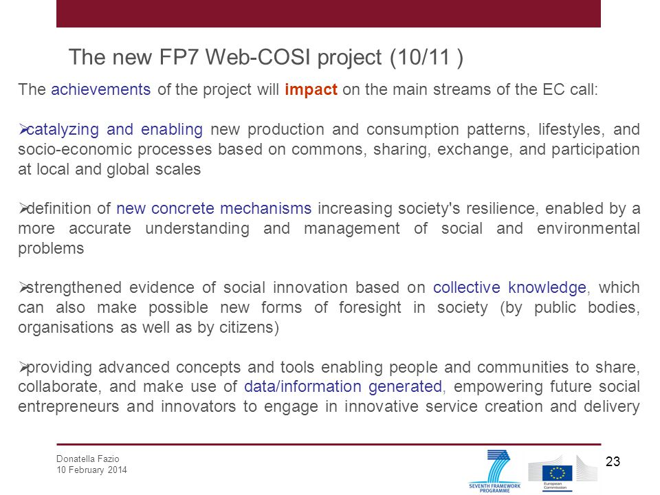 The new FP7 Web-COSI project (10/11 )