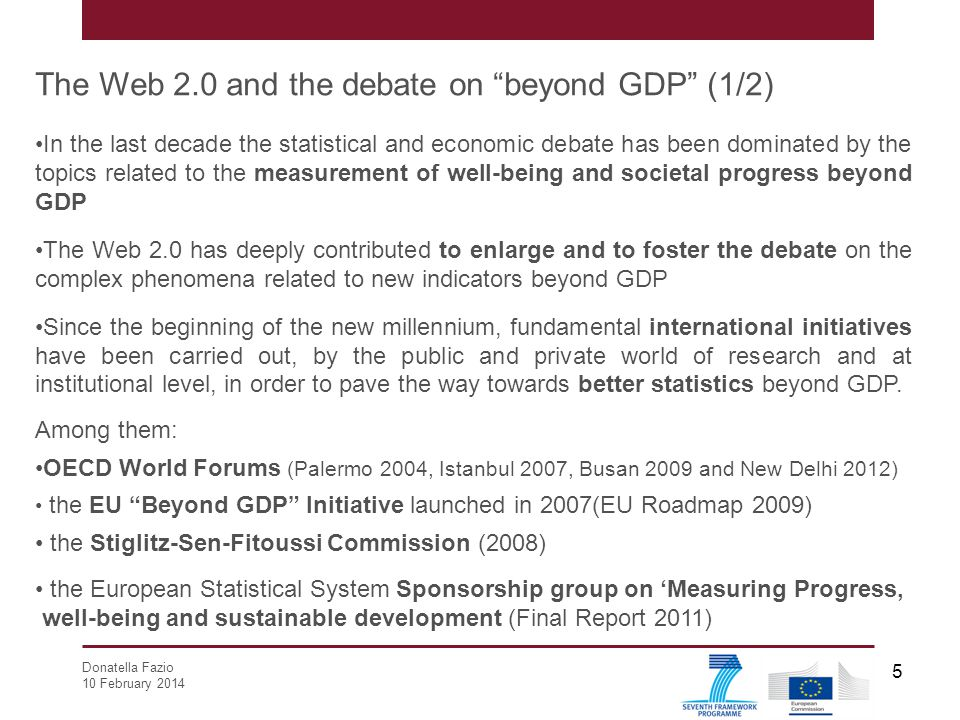 The Web 2.0 and the debate on beyond GDP (1/2)