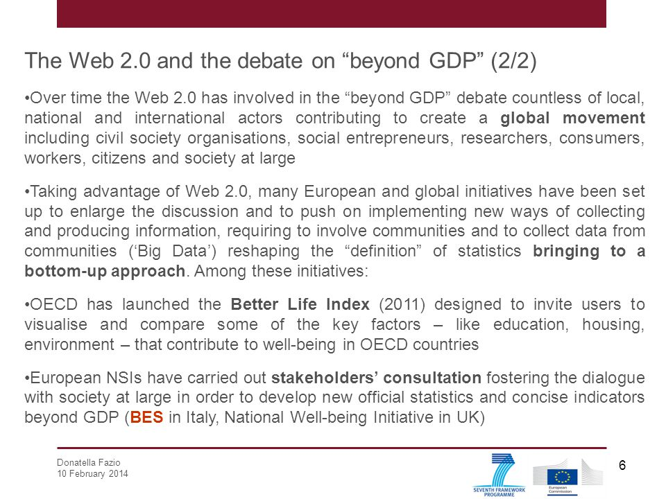 The Web 2.0 and the debate on beyond GDP (2/2)