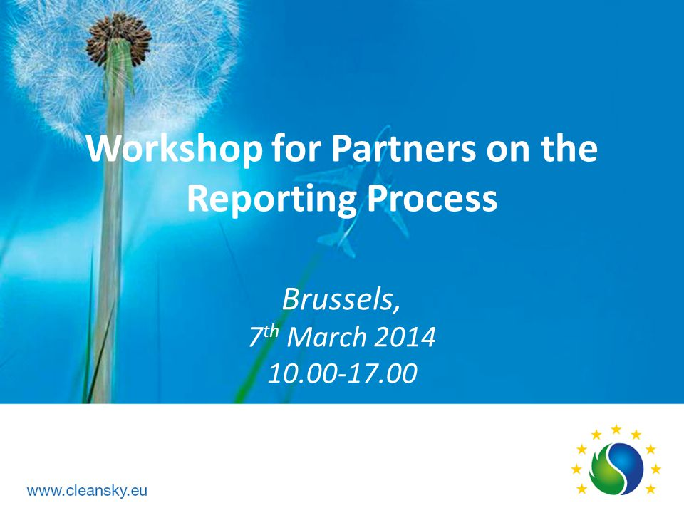 Workshop for Partners on the Reporting Process Brussels, 7th March 2014 10.00-17.00