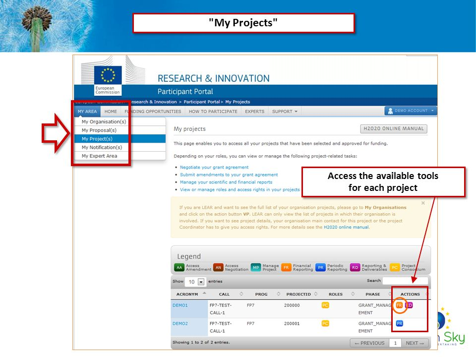 Access the available tools for each project