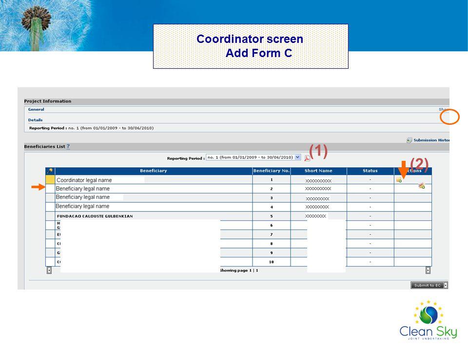 Coordinator screen Add Form C