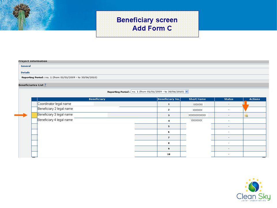 Beneficiary screen Add Form C
