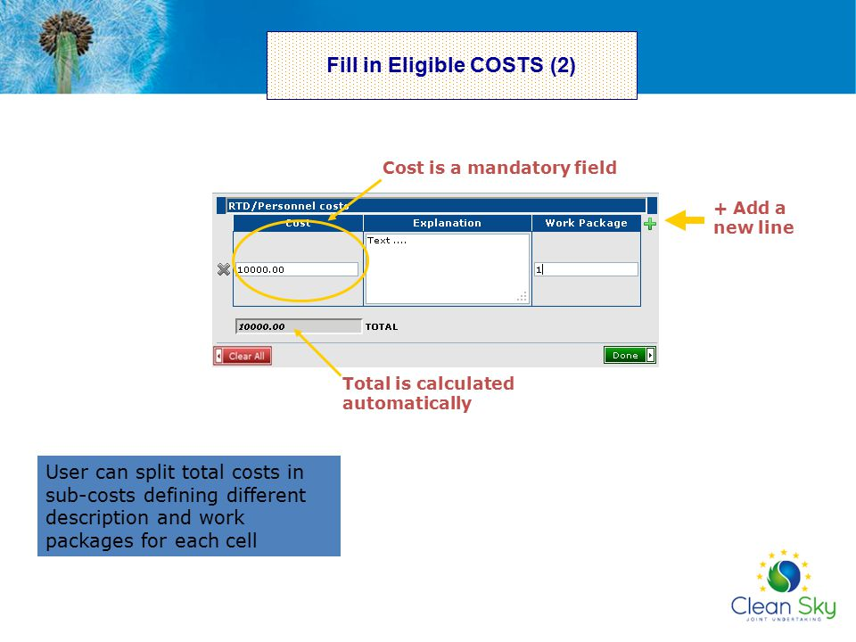 Fill in Eligible COSTS (2)