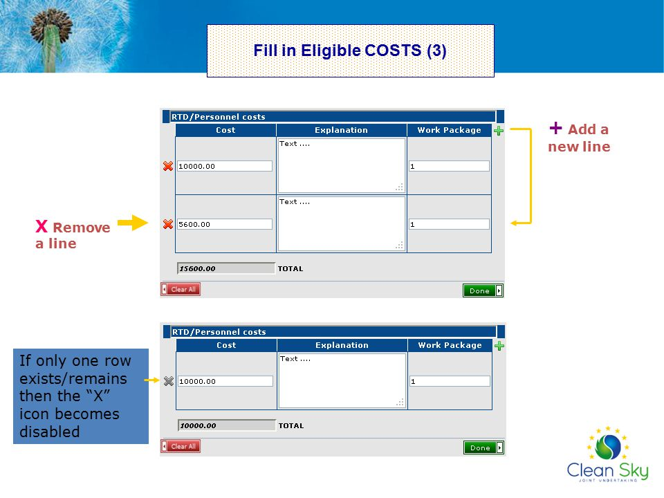 Fill in Eligible COSTS (3)