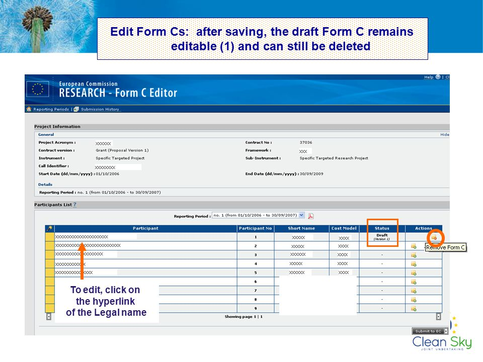 Edit Form Cs: after saving, the draft Form C remains editable (1) and can still be deleted