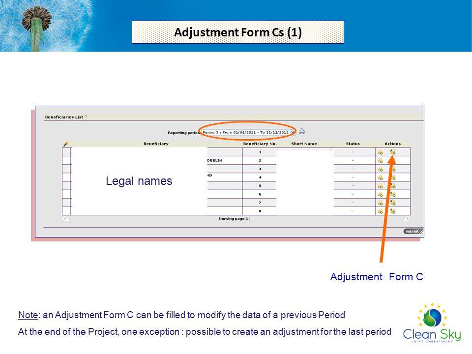 Adjustment Form Cs (1) Legal names Adjustment Form C