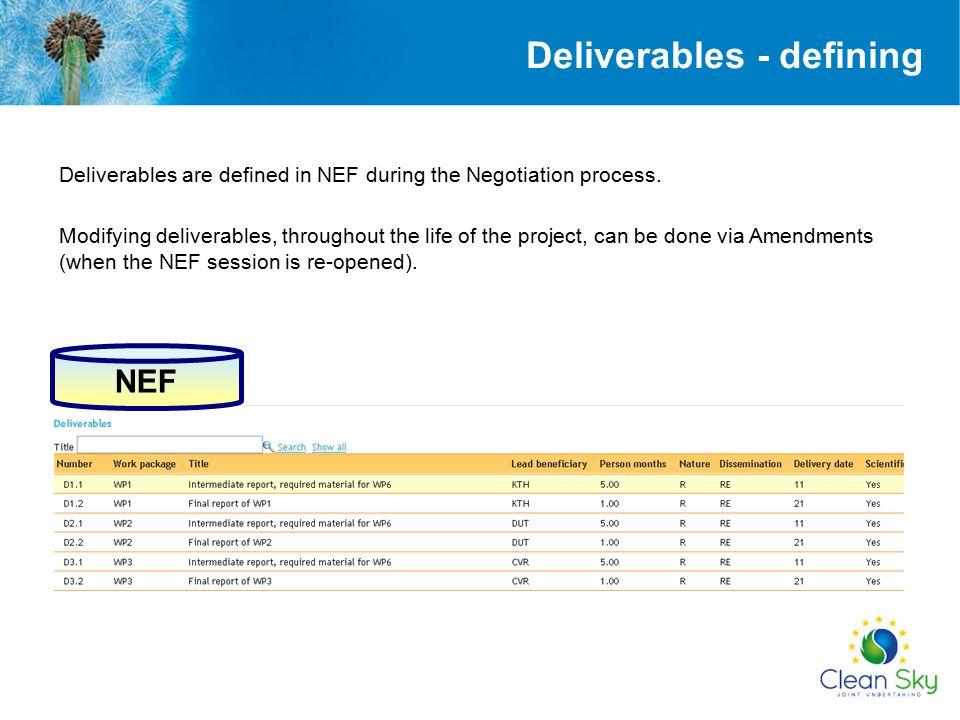 Deliverables - defining