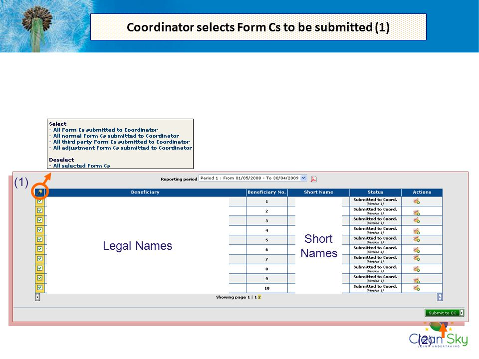 Coordinator selects Form Cs to be submitted (1)