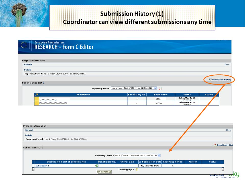 Submission History (1) Coordinator can view different submissions any time