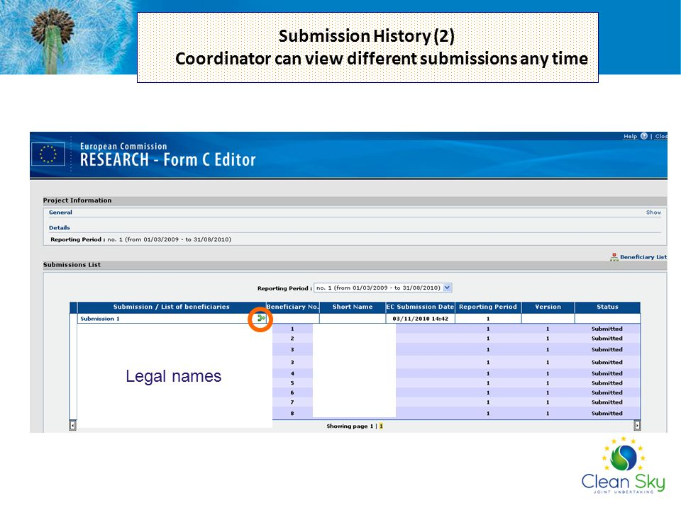 Submission History (2) Coordinator can view different submissions any time
