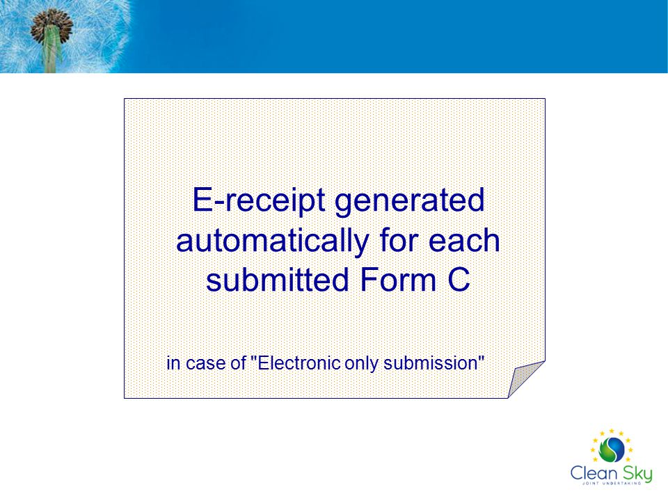 E-receipt generated automatically for each submitted Form C