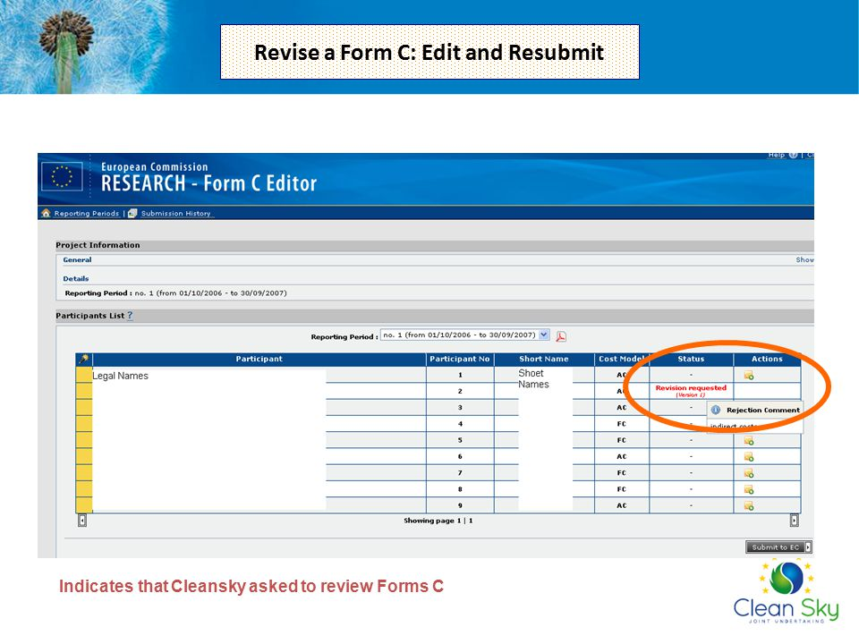 Revise a Form C: Edit and Resubmit
