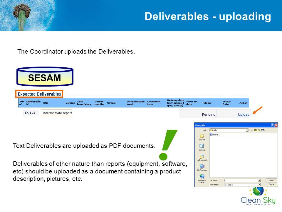 Deliverables - uploading