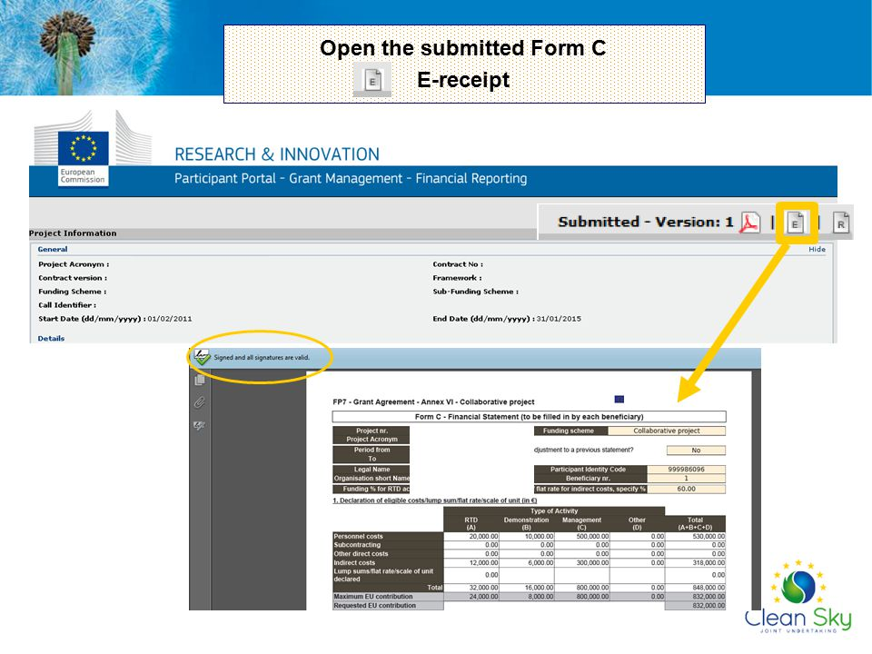 Open the submitted Form C