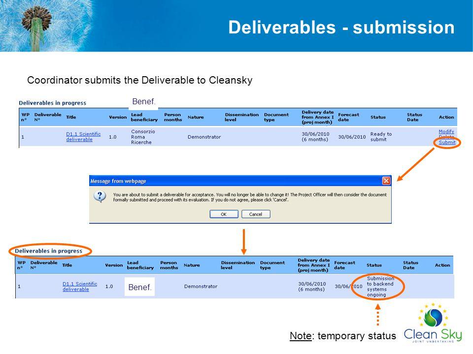 Deliverables - submission