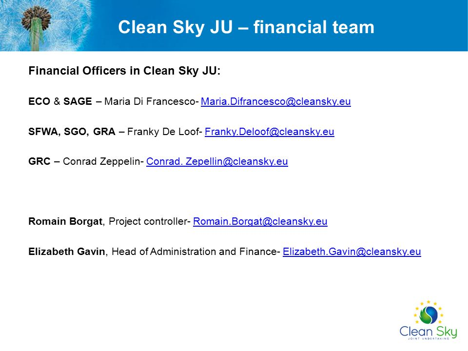 Clean Sky JU – financial team