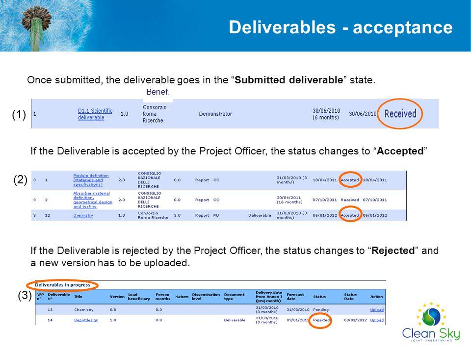 Deliverables - acceptance