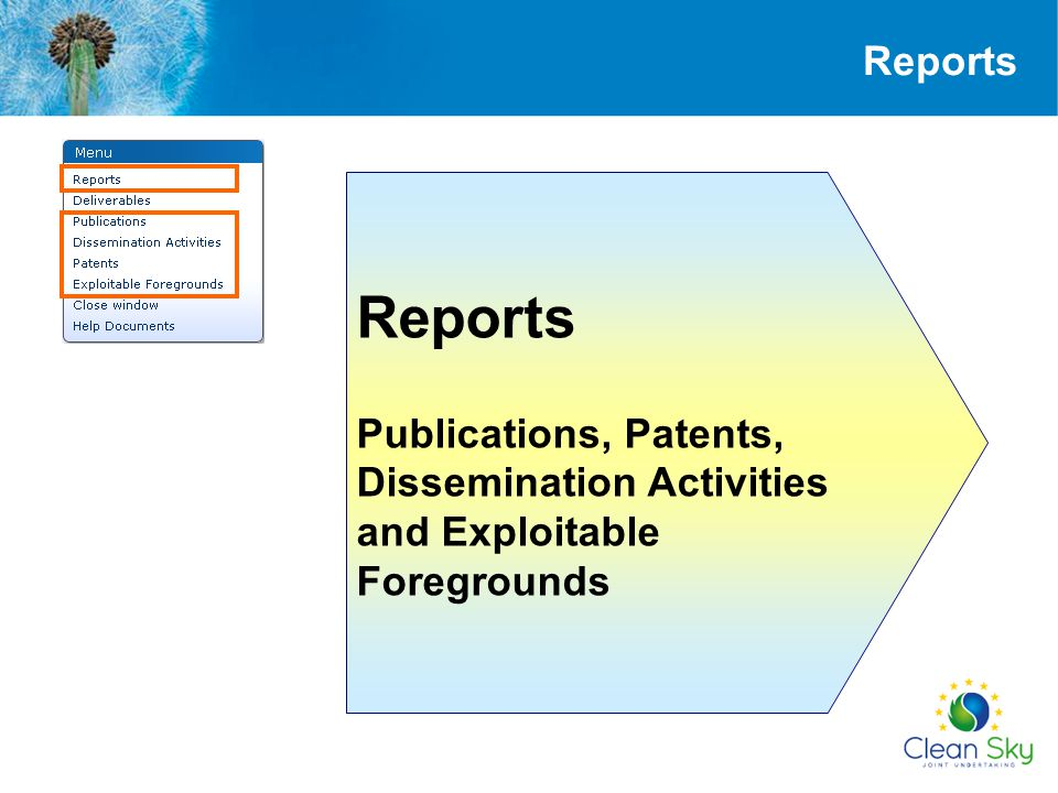 Reports Reports Publications, Patents, Dissemination Activities and Exploitable Foregrounds