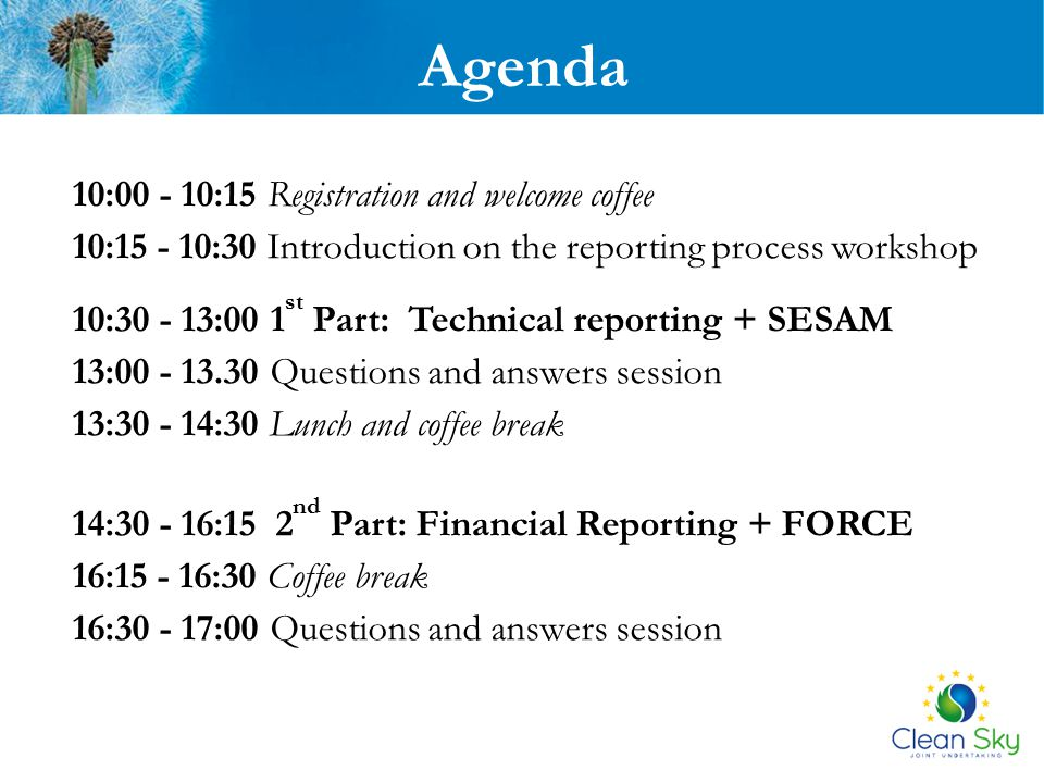 Agenda 10:00 - 10:15 Registration and welcome coffee
