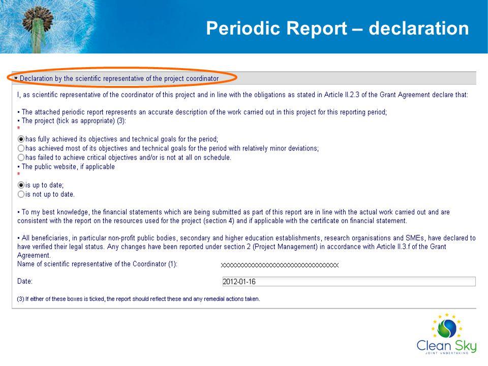 Periodic Report – declaration