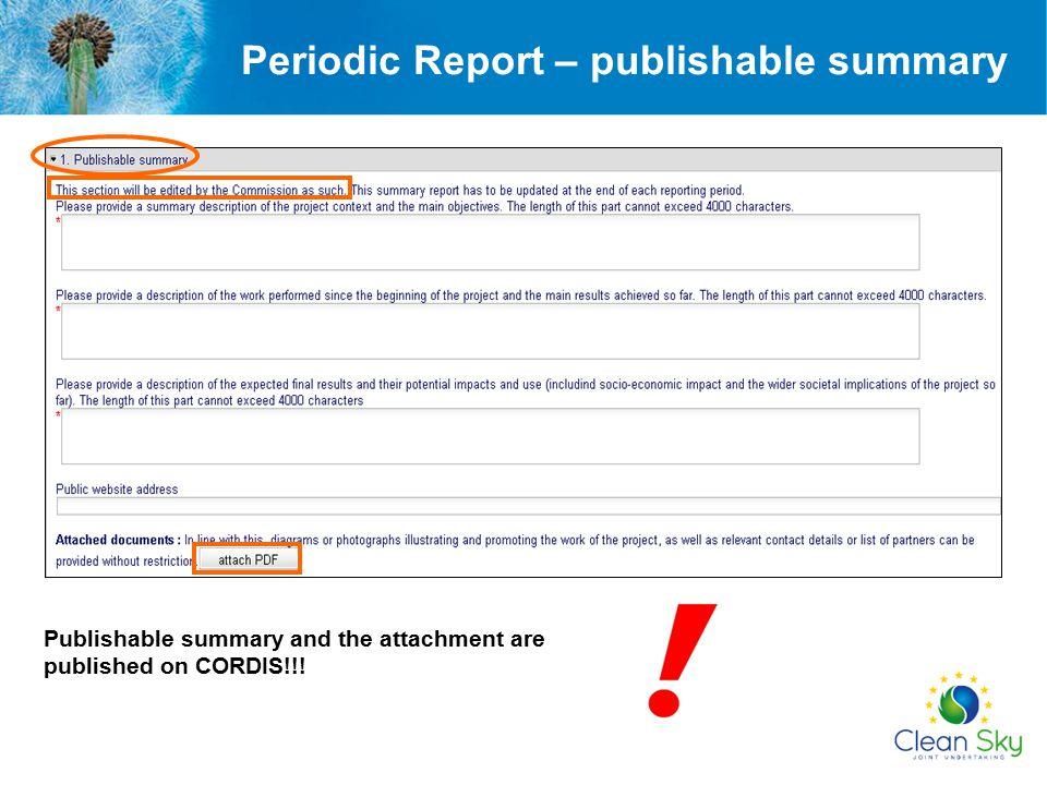Periodic Report – publishable summary