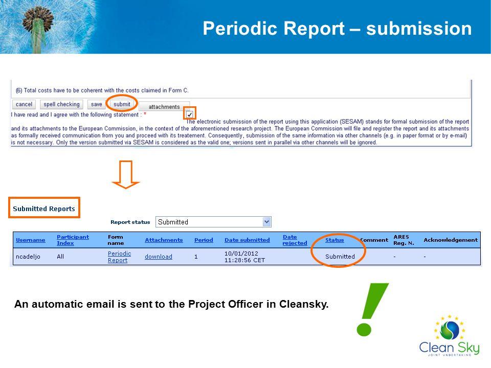 Periodic Report – submission