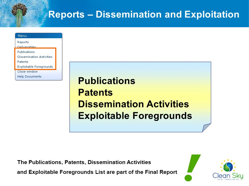 Reports – Dissemination and Exploitation