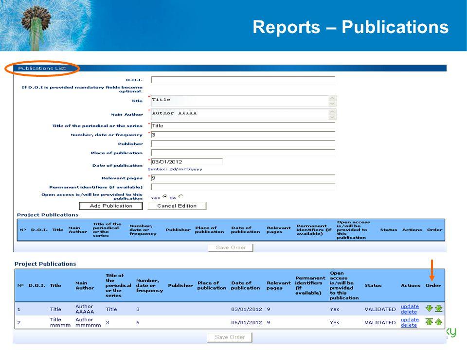 Reports – Publications