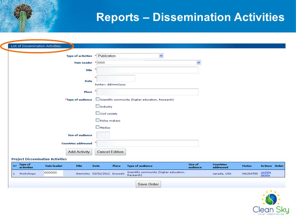 Reports – Dissemination Activities