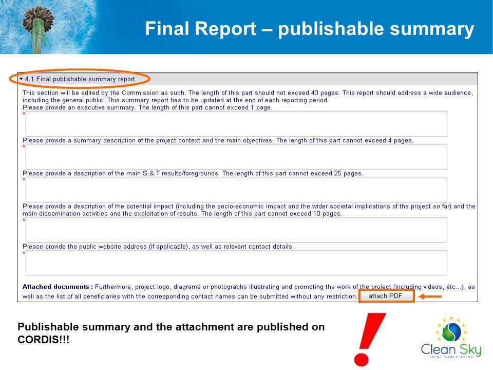 Final Report – publishable summary