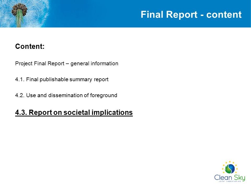 Final Report - content Content: 4.3. Report on societal implications