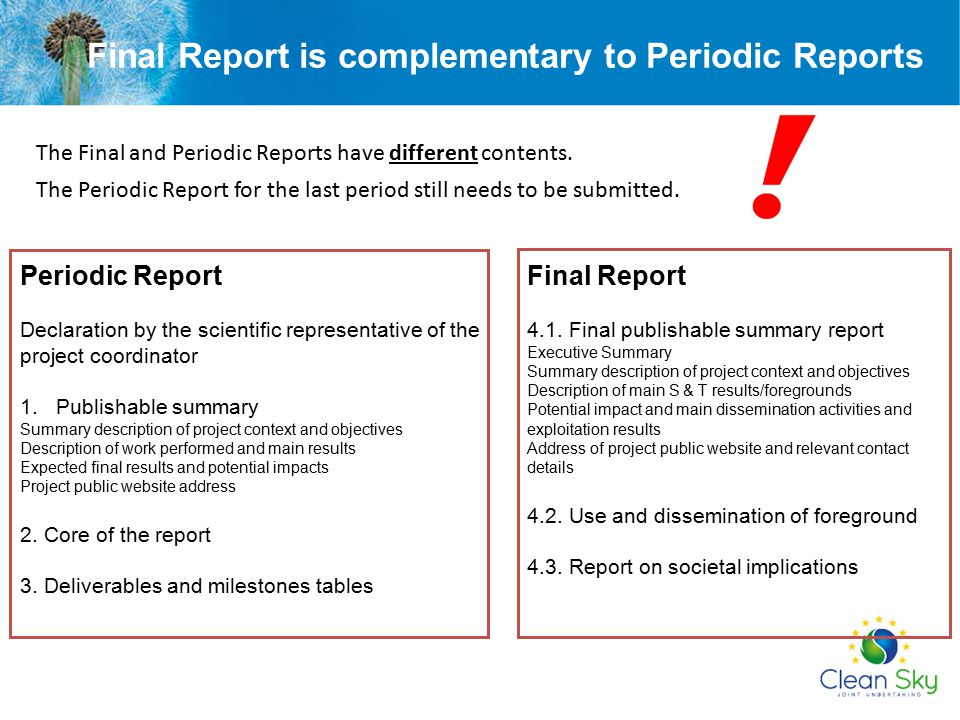 Final Report is complementary to Periodic Reports