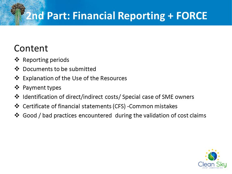 2nd Part: Financial Reporting + FORCE