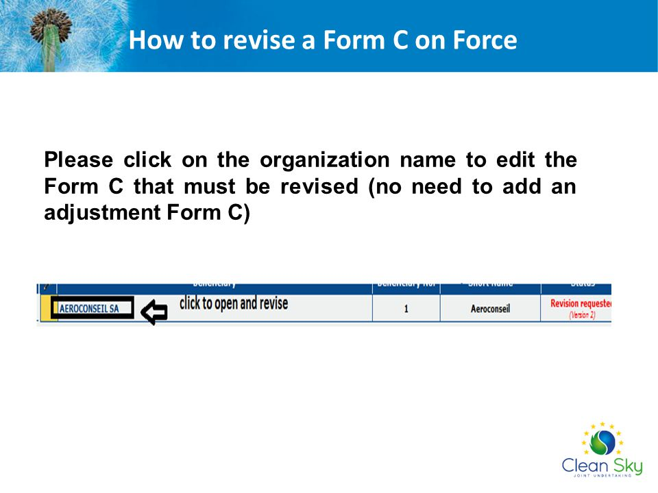 How to revise a Form C on Force
