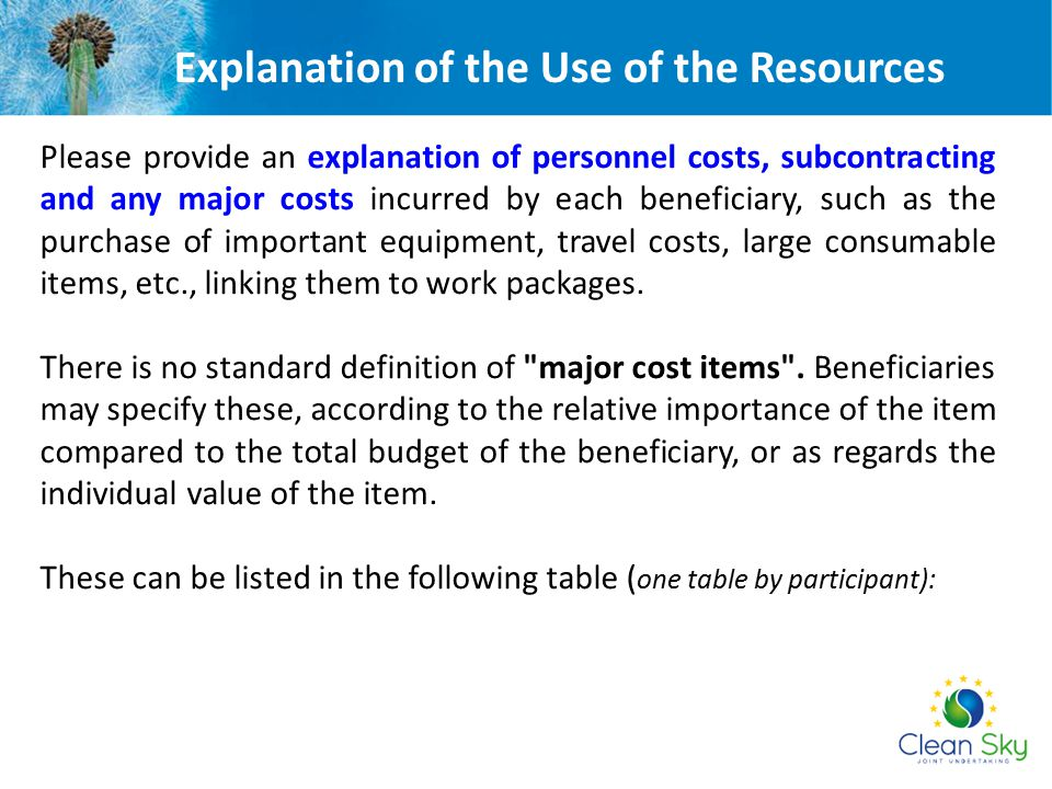 Explanation of the Use of the Resources