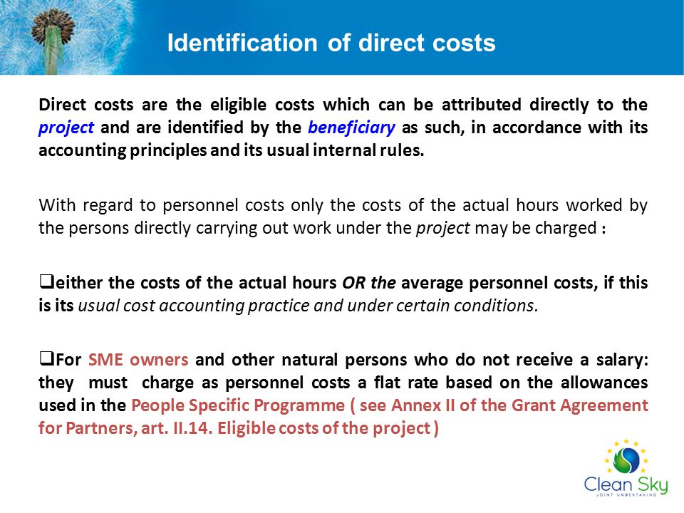 Identification of direct costs