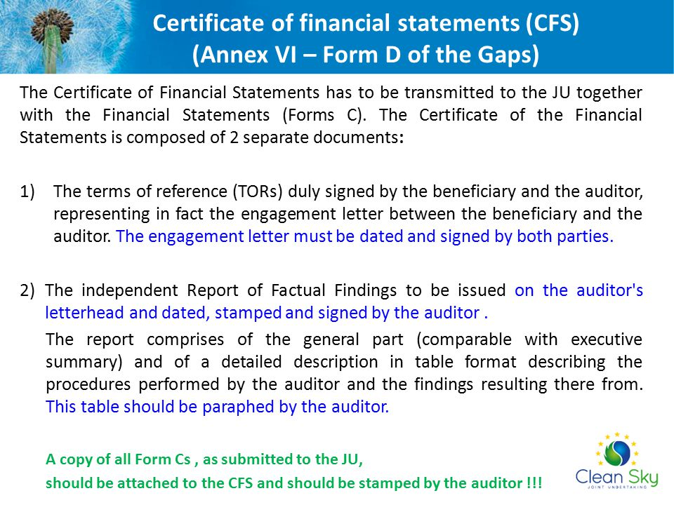 Certificate of financial statements (CFS) (Annex VI – Form D of the Gaps)