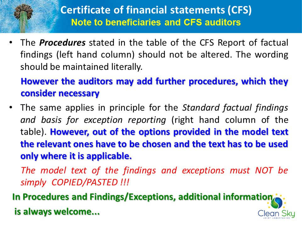 Certificate of financial statements (CFS) Note to beneficiaries and CFS auditors