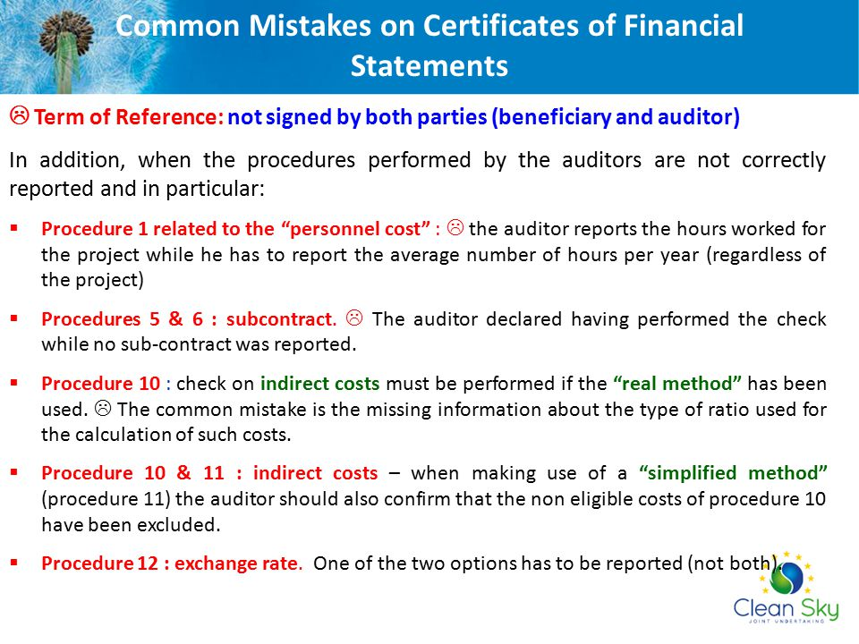 Common Mistakes on Certificates of Financial Statements